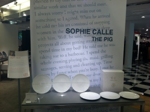 Sophie Calle's The Pig series for Bernardaud, at Bloomingdale's, New York.